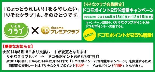 りそなクラブ、埼玉りそなクラブ、近畿大阪クラブからドコモポイントへの交換レート変更