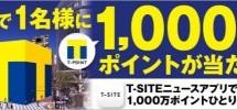 Tポイント、T-SITEニュースアプリをダウンロードすると、抽選でTポイント1,000万ポイントが当たるキャンペーンを実施