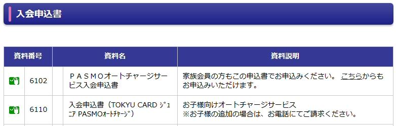 TOKYU CARDジュニアPASMOオートチャージサービス