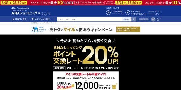 ANA ショッピング A-style、ポイント交換レートアップキャンペーンを実施