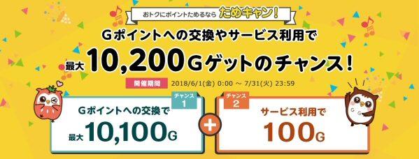 Gポイント、最大で10,200 Gがもらえるキャンペーンを開始
