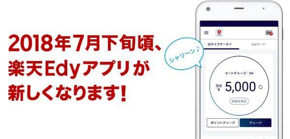 楽天Edy、楽天EdyアプリからEdyカードへのクレジットチャージなどが可能に