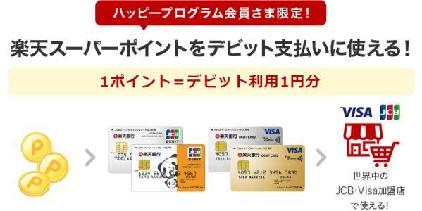 楽天銀行、楽天デビットカードでの利用時に楽天スーパーポイントの利用が可能に