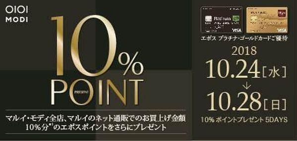 エポスカード、エポスプラチナカードとエポスゴールドカード会員向けに10%ポイントプレゼントキャンペーンを実施