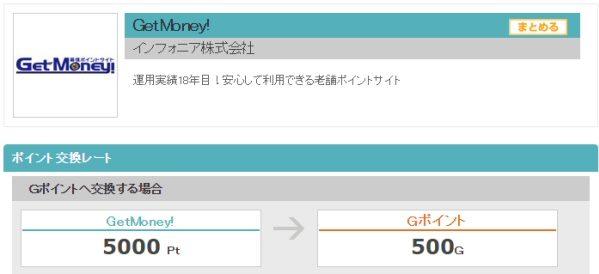GetMoney!、Gポイントへのポイント交換サービスを開始