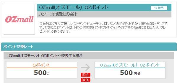 Gポイント、OZmallで利用できる「OZポイント」へのポイント交換を開始