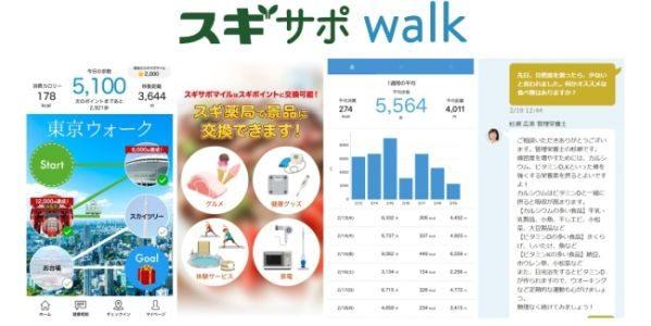 スギ薬局とメドピアグループ、歩くだけでポイントが貯まるアプリ「スギサポwalk」をリリース