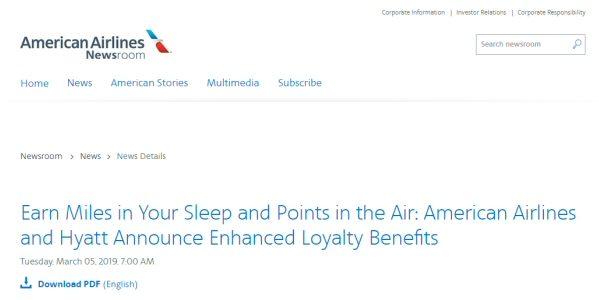 アメリカン航空とハイアットがロイヤルティプログラムを相互に拡充