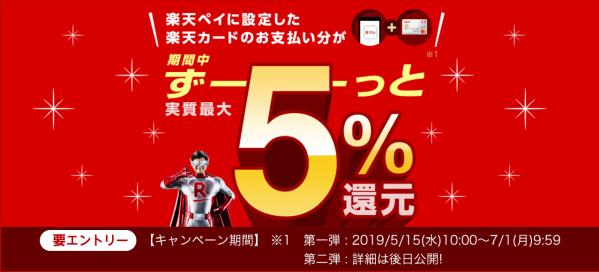 楽天ペイ(アプリ決済)に楽天カードを登録すると最大5%還元するキャンペーンを開始