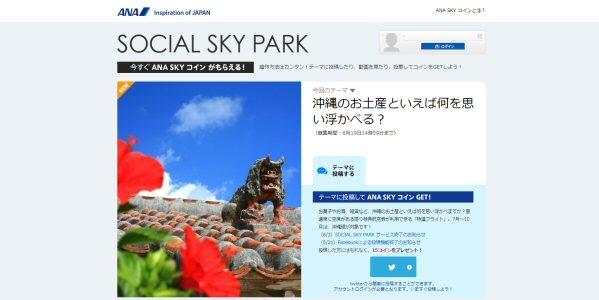 ANA、テーマに投稿してANA SKYコインがもらえる「SOCIAL SKY PARK」を終了