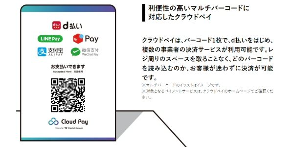 d払い、加盟店のQRコードを読み取って支払う事ができる機能を搭載