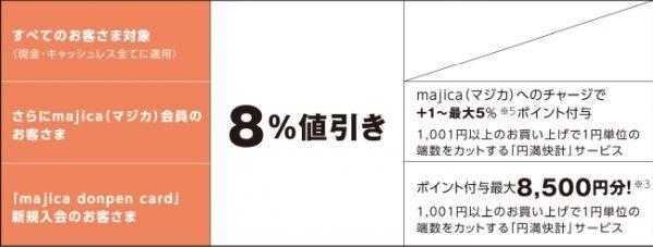 ドン・キホーテが現金でも8%OFF、majicaなら最大13%還元キャンペーンを実施