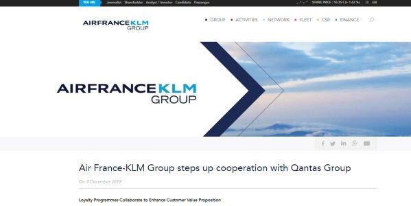 カンタス航空とエールフランス・KLMオランダ航空とのマイレージ提携を開始