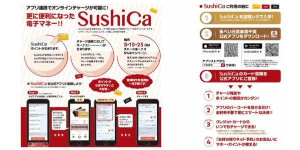 元気寿司、プリペイドカード「SushiCa」と公式アプリを連携 事前オーダーでもSuishiCaでの決済が可能に