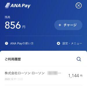 ANA Payの利用履歴