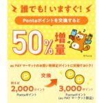 PontaポイントからPontaポイント(au PAYマーケット限定)への交換で50%増量キャンペーンを実施