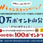 飲食店で楽天ポイントカードを利用すると100万ポイント山分けに参加できるキャンペーン実施