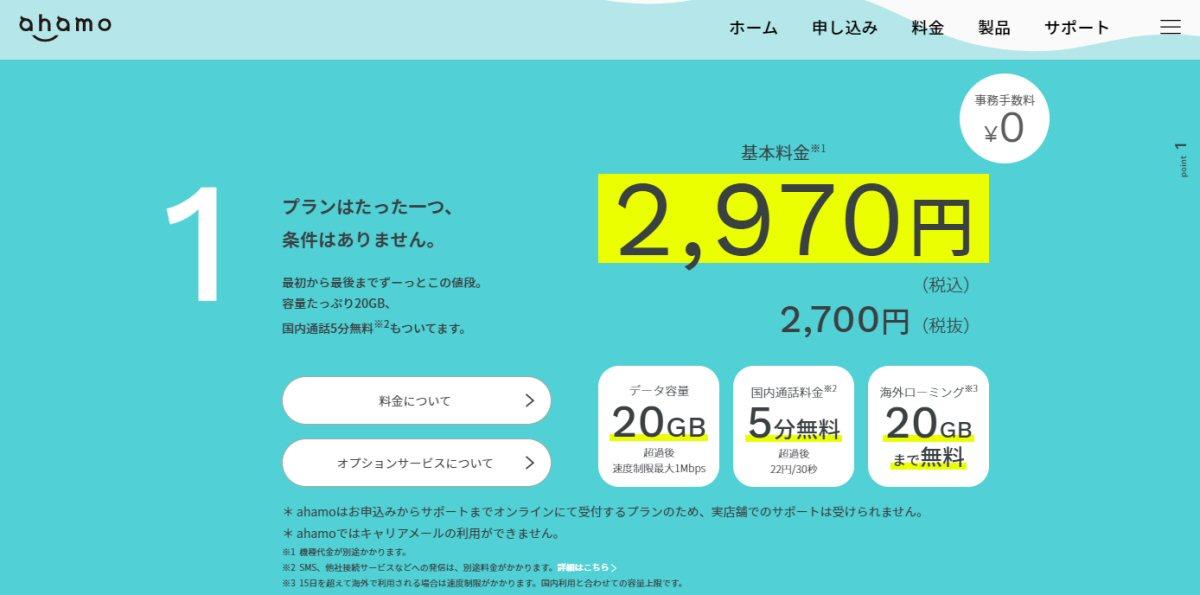 ドコモ、「ahamo」の月額料金を2,970円(税込)に改定 dカード特典も開始