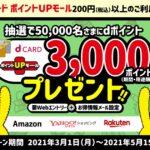 dカード ポイントUPモールの利用で3,000 dポイントが当たるキャンペーンを実施