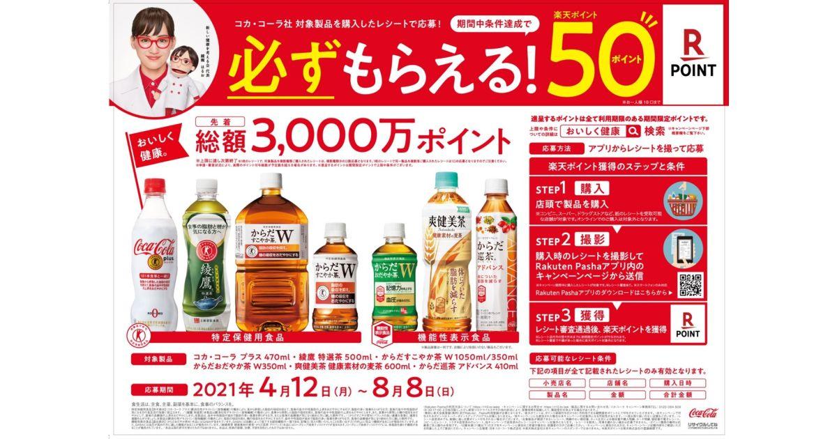 コカ・コーラの特定保健用食品および機能性表示食品の飲料製品を購入してエントリーすると楽天ポイント50ポイント獲得できるキャンペーンを実施