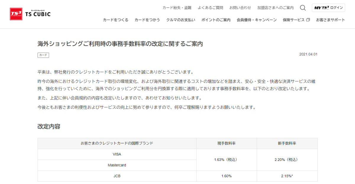 TS CUBIC CARD、海外ショッピング利用時の事務手数料率やリボルビング払い、回数指定分割払の手数料率を改定