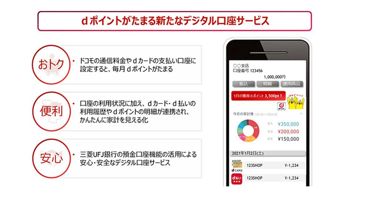ドコモと三菱UFJ銀行、2022年より取引でdポイントを獲得できるデジタル口座サービスを開始
