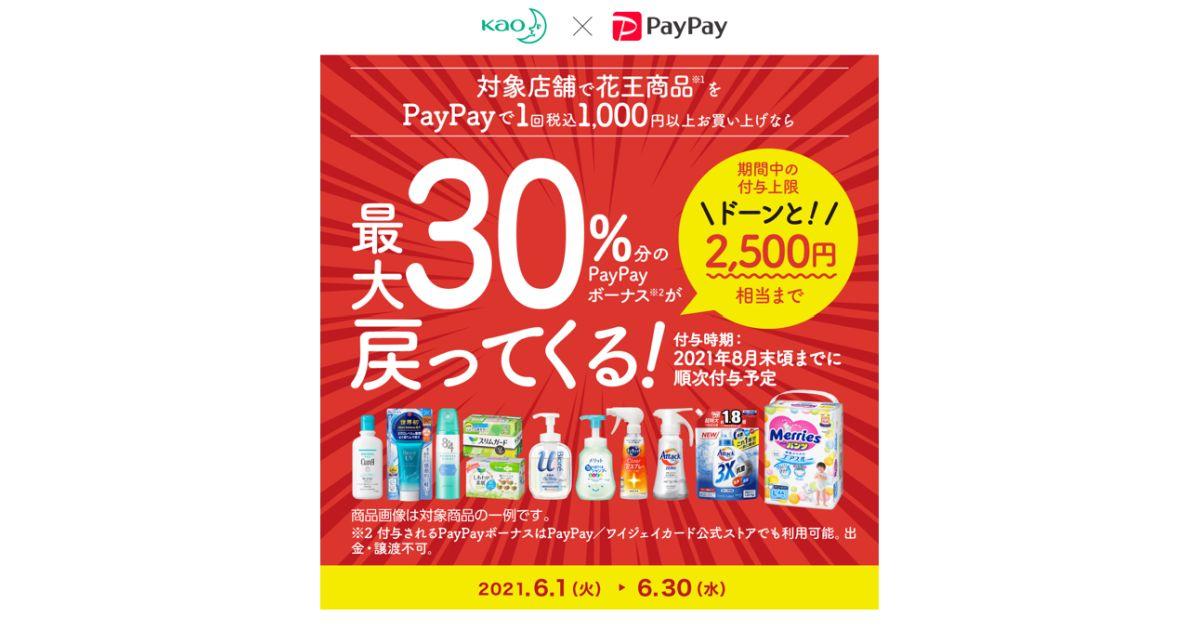 花王商品をPayPayで購入すると30%のPayPayボーナスが戻ってくるキャンペーン開始