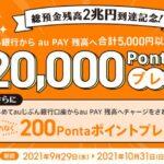 auじぶん銀行、au PAY残高に合計5,000円チャージすると抽選で最大2万Pontaポイントが当たるキャンペーンを実施