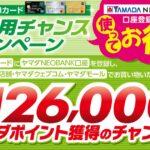 ヤマダLABIカード、ヤマダNEOBANK口座を利用し、ヤマダデンキ店舗などで利用すると最大126,000ヤマダポイントを獲得できるキャンペーンを実施